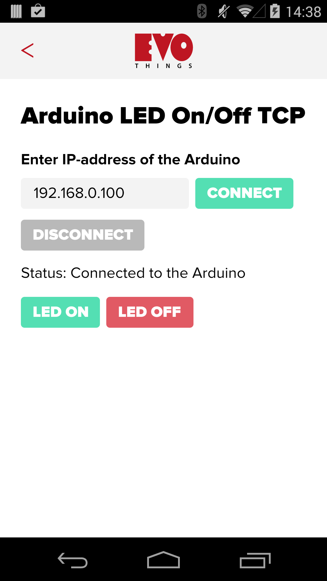Arduino LED On/Off TCP Example